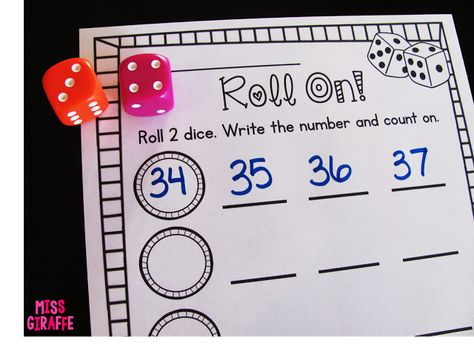 Counting on from any number math stations where students roll the dice to figure out the number and then count forward (Building Number Sense in First Grade)