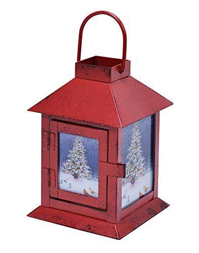 Mark Feldstein Wild Wings Christmas Tree LED Light Up Red 4 x 6 Inch Metal Decorative Coach Lantern