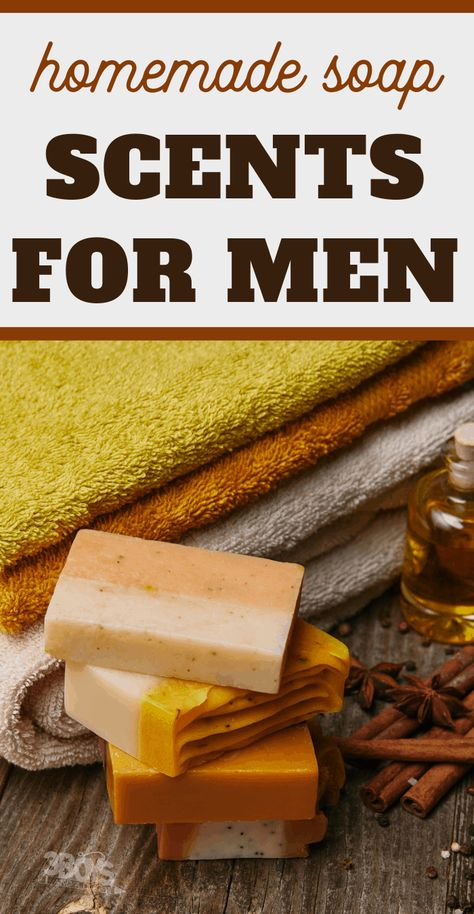 choosing masculine scents when making soap for guys Stop struggling over finding the best scents for your guys when making homemade soap! This list of soap scents for men will help you narrow down the perfect masculine smells for the guys in your life. Diy Savon, Savon Soap, Soap Making Recipes, Homemade Soap Recipes, Homemade Soap Bars, Mens Soap, Goat Milk Soap, Cold Process Soap, Soap Making Process