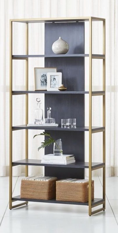 Wire Brushed And Black Stained Acacia Wood Provides The Shelves