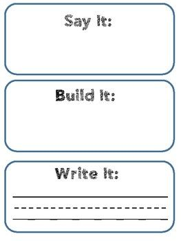 Say it, Build it, Move it Mat | Word work | Word work