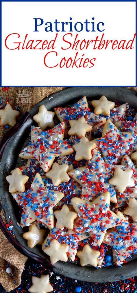 Patriotic Glazed Shortbread Cookies - A classic, old-fashioned, glazed, star-shaped shortbread cookie, festively decorated and garnished with patriotic sprinkles. #4thofjuly #independenceday #redwhiteblue #redwhiteandblue