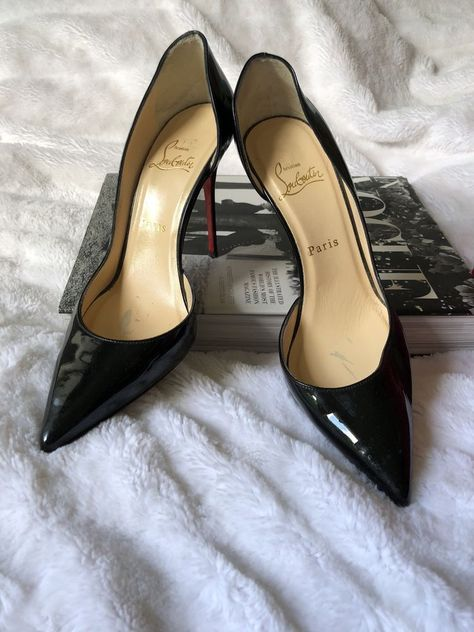 39694110dee1 Auth Christian Louboutin Iriza 100 Patent Leather D Orsay Heel Black Pumps  38