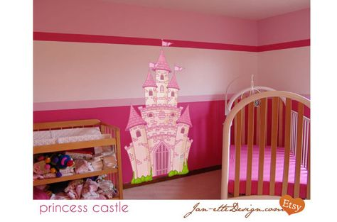 Large Pink Princess Castle Fabric Wall Decal Removable And