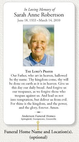 picture about Free Printable Memorial Card Template named Funeral Memorial Card Prayers Funeral Prayer Card