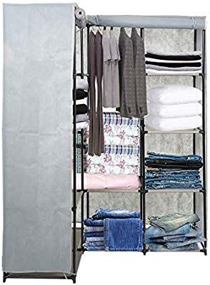 Amazon Com Dporticus Portable Corner Clothes Closet Wardrobe Storage Organizer With Metal Shelves And Dustproof Wardrobe Storage Garment Racks Wardrobe Closet