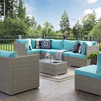 Modway Eei 3010 Lgr Trq Set Repose Outdoor Patio Sectional Set 7 Piece Light Gray Turquoise Gray Patio Furniture Diy Patio Furniture Patio Sectional