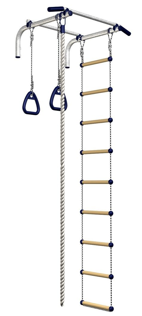 Amazon.com : Wall Mounted Pull up Bar Chinning Set + Gymnastic Rings + Gym Climbing Rope + Ladder : Sports & Outdoors