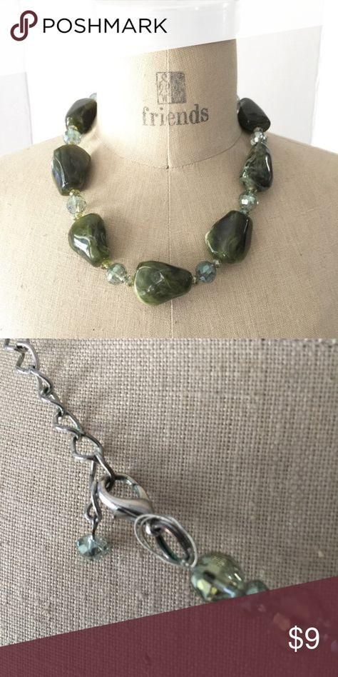 """AB & Green Faux Stone Glass Beaded Necklace Wonderful large green stone and aurora borealis beaded necklace.  Great chunky necklace!  17"""" long with a 2"""" extender Hand Made Jewelry Necklaces"""