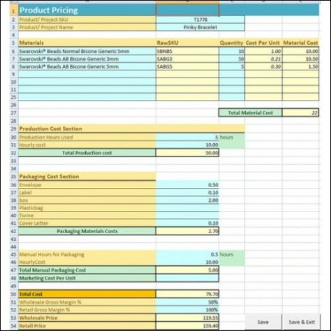 Jewelry \ Craft Pricing Calculator Materials Inventory and Product - product pricing calculator