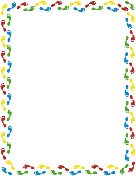 A page border featuring colorful footprints. Free downloads at http://pageborders.org/download/footprint-border/