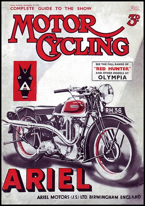 CLASSIC ARIEL MOTORCYCLES PATCH//RED HUNTER//SQUARE FOUR