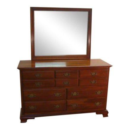 Ethan Allen Solid Cherry Dresser With Mirror Dresser With Mirror