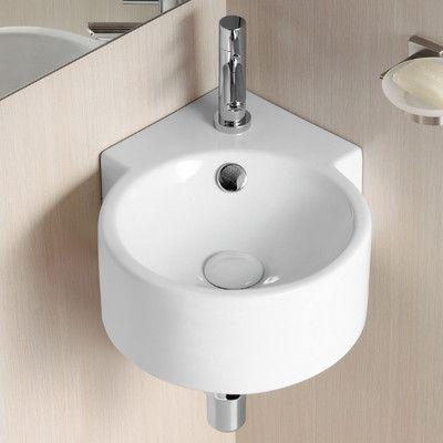 Ceramica Ii 17 32 Round Wall Mounted Corner Bathroom Sink With Overflow Corner Sink Bathroom Wall Mounted Bathroom Sinks Sink