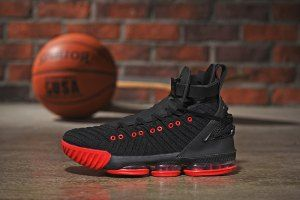 factory price ae01e 6ca1c Mens Nike LeBron 16 HFR Harlem's Black Red Basketball Shoes ...