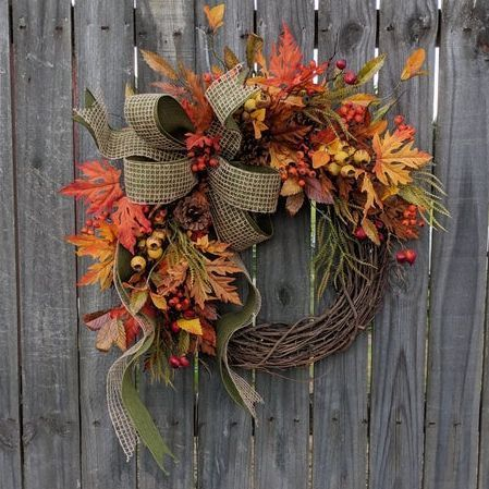 30 Fall Wreaths That'll Make Your Front Door the Prettiest One on the Block 30 Best DIY Fall Wreaths - Prettiest Autumn Door Wreaths for Sale Diy Fall Wreath, Easy Fall Wreaths, Thanksgiving Wreaths, Summer Wreath, Holiday Wreaths, Spring Wreaths, Yarn Wreaths, Winter Wreaths, Floral Wreaths