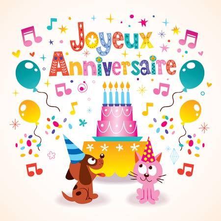 Joyeux Anniversaire Happy Birthday In French Kids Greeting Card Happy Birthday Cards Happy Birthday In French Free Happy Birthday Cards