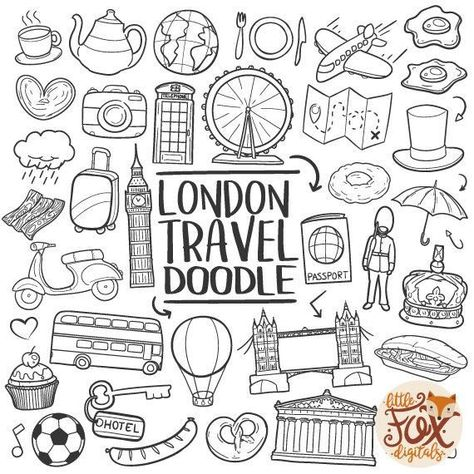 LONDON ENGLAND UK Travel Vacation Europe Doodle Icons Clipart Scrapbook Set Coloring Line Art Hand D