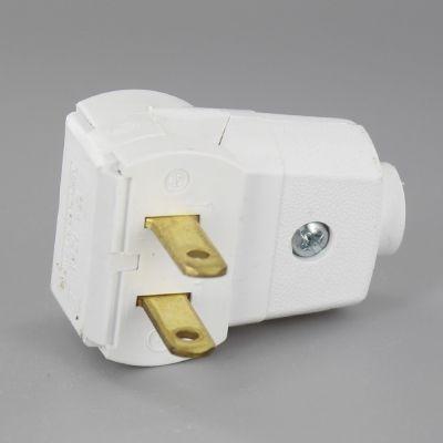 White Leviton Non Polarized Angle Lamp Plug With Screw Terminals Leviton Lighting Parts Lamp Parts