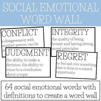Social Emotional Word Wall Social Emotional Vocabulary Emotion Words Social Emotional Learning Social Emotional