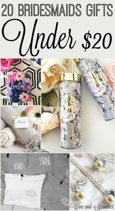 20 Cheap and Unique Bridesmaids Gifts for less than $20 #bridesmaid #bridesmaidgift