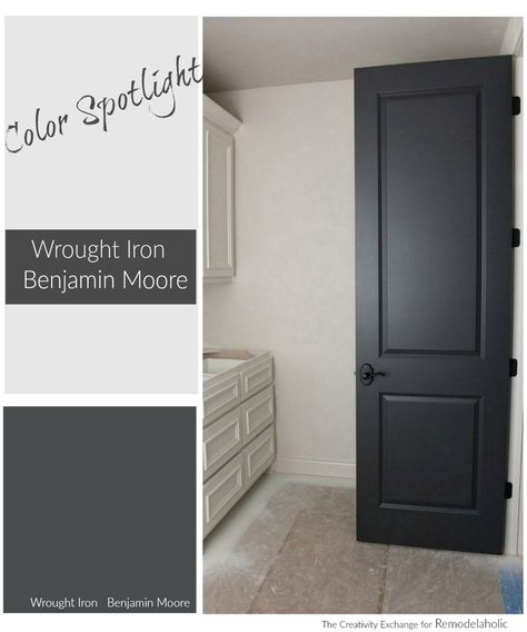 My new front door color. If you've been searching for the perfect black paint color, Benjamin Moore Wrought Iron is the perfect muted black -- balanced and warm but still dark and dramatic. Interior Door Colors, Black Interior Doors, Black Doors, Painting Interior Doors, Interior Door Styles, Paint Doors Black, Interior Design, Black Garage Doors, Interior Decorating