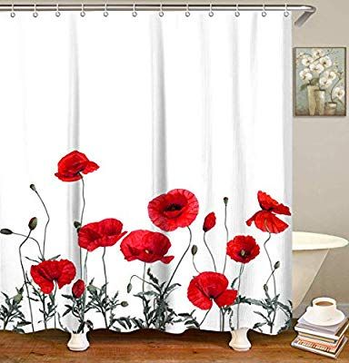 Amazon Com Livilan Vintage Red Poppy Floral Shower Curtain Set