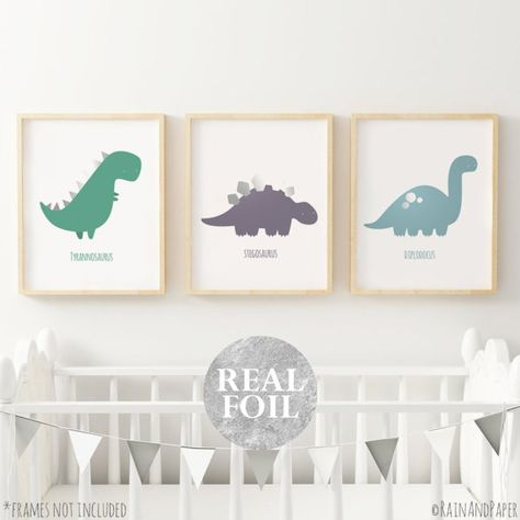 3 Modern Dinosaur Prints Trex Nursery Wall Art Decor Kids Boys Room Pictures