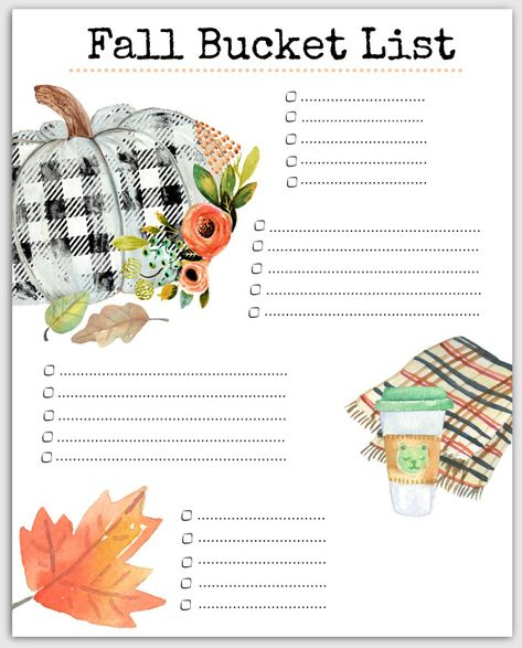Our blank version of our Free Printable Fall Bucket List ready for ideas Love FALL? Celebrate by drinking pumpkin lattes, and doing all the favorite fall things using this free printable bucket list! Halloween Bucket List, Thanksgiving Bucket List, Autumn Bucket List, Thanksgiving Celebration, Summer Bucket, Herbst Bucket List, Bucket List Quotes, Fun Fall Activities, Indoor Activities