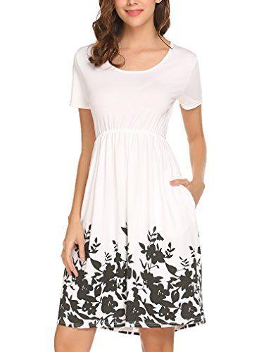 6a63164a755af Halife Women's Summer Short Sleeve Floral Print Elastic Waist ...