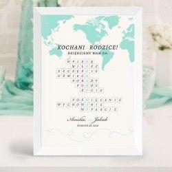 Prezent Dla Rodzicow Krzyzowka Kochamy Was Podroz Poslubna Place Card Holders Place Cards Wedding