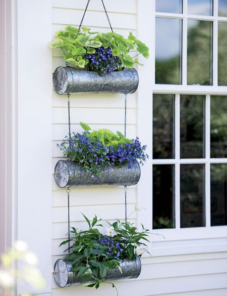 Galvanized Metal Hanging Triple Planter Gardener S Supply Hanging Plants Hanging Plants Indoor Hanging Planters Outdoor