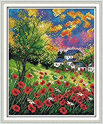 Full Range of Embroidery Starter Kits Stamped Cross Stitch Kits Beginners for DIY Embroidery with 40 Pattern Designs Autumn House