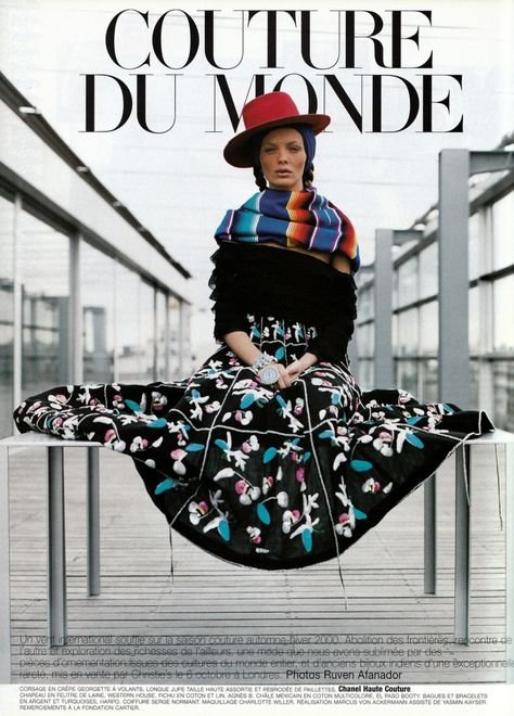 Back in 1999 for this astonishing Couture du Monde editorial by Ruven Afanador for Vogue Paris Sept. 99 with models Audrey Marnay, Devon Aoki, Esther Canadas and Malgosia Bela - Funny to see Devon Aoki so young !