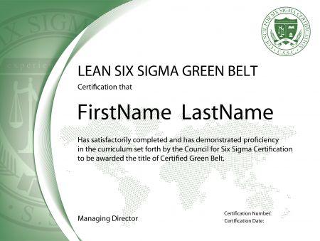 Professional Green Belt Certificate Template In 2021 Lean Six Sigma Green Belt Certificate