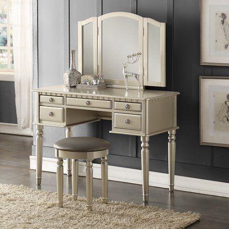 Bobkona St Croix 3 Fold Mirror Vanity Table With Stool Set Champange Walmart Com Vanity Set With Mirror Bedroom Vanity Vanity Set
