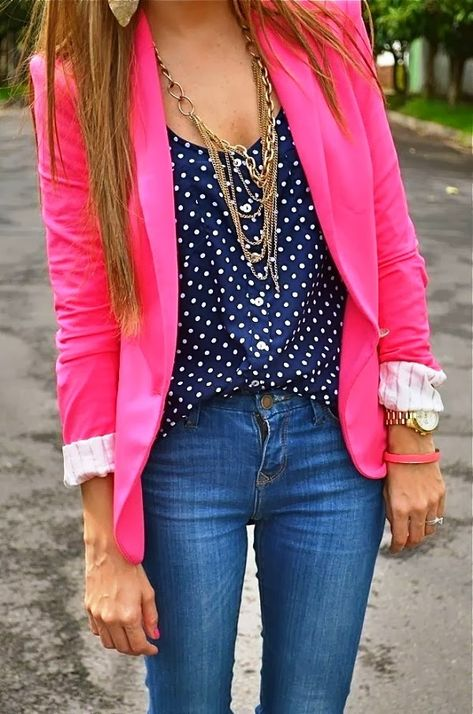 Polka Dots Blouse With Casual Jeans and Pink Blazer   Fashionista Tribe This is a little too much for me but I love the colors!