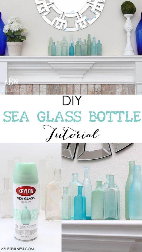 Such an easy tutorial on how to create DIY sea glass bottles using spray paint… glass bottle crafts How to Make DIY Sea Glass Bottles Tutorial for Coastal Decor