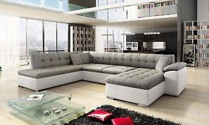 Scafati Fabric Leather Corner Sofa Bed Black Grey White Ebay Leather Corner Sofa U Shaped Corner Sofa Living Room Sets Furniture