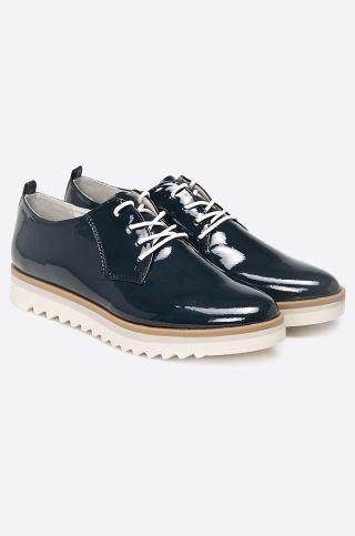 Pantofi Oxford dama piele lacuita cu talpa groasa