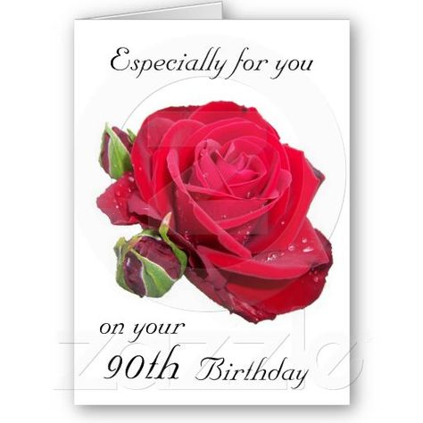 Red Rose 90th Birthday Card Zazzle Com 90th Birthday Cards