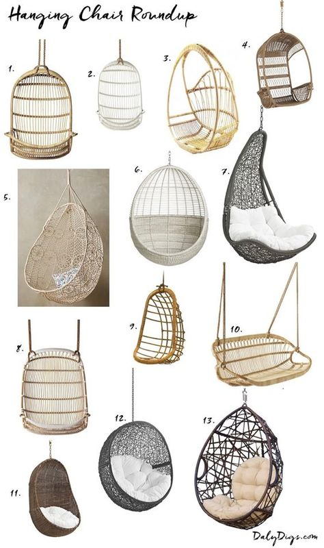 Hanging Chair Roundup & Styling Ideas Hanging chair, Bedroom hanging chair, Balcony decor, Bedroom d Girl Bedroom Designs, Room Ideas Bedroom, Bedroom Decor, Tween Room Ideas, Bedroom Furniture, Pipe Furniture, Ideas For Bedrooms, Furniture Design, Cute Room Ideas