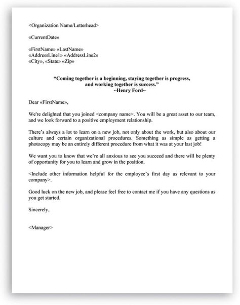 Welcome Letter Format For New Employee New Employee