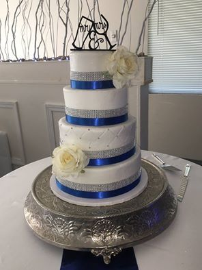 Royal Blue And Silver Wedding Cake By Cake Crumbs Morton
