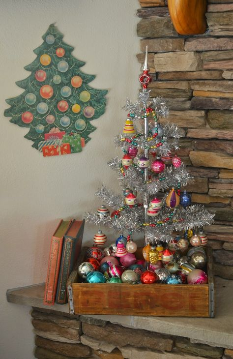 Small, silver tree in rustic, wood box filled with vintage Christmas balls. The adventures of two (Pyrex crazy) thrifting sisters. Christmas Jingles, Primitive Christmas, Retro Christmas, Country Christmas, Winter Christmas, Christmas Home, Christmas Crafts, Half Christmas, Hygge Christmas