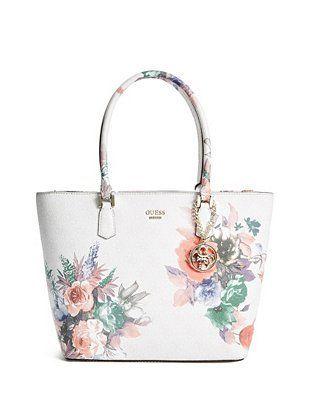 Women Designer Look Floral Print Shiny Patent Shoulder Handbag Tote Top-handle