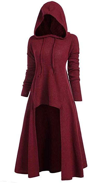 Womens Vintage High Low Sweatshirts Tunic Tops Drawstring Gothic Punk Asymmetric Long Sleeve Hoodies Dress Cloak Costumes