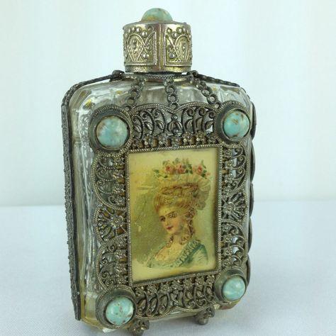 Vtg Large Jeweled Cabochon Stone Perfume Bottle Metal Cover