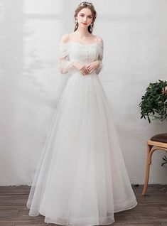 In Stock:Ship in 48 Hours Tulle Straps Long Sleeve Wedding Dress