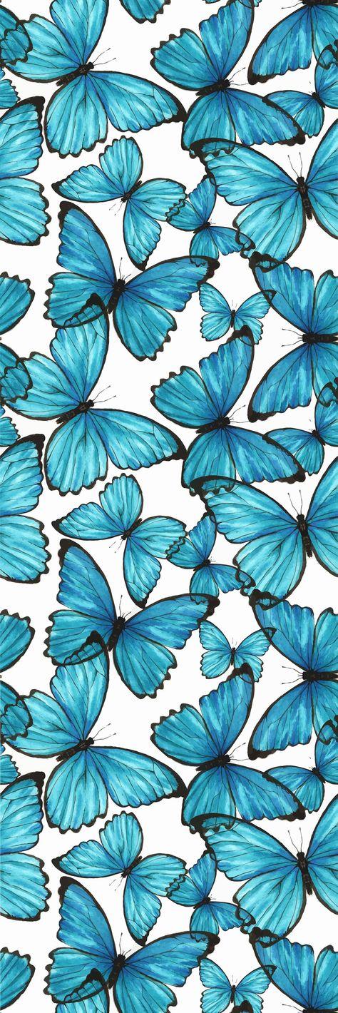 Removable Wallpaper Self Adhesive Blue Butterflies Nursery | Etsy